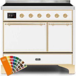 Ilve Majestic II UMDI10QNS3RALG Freestanding Electric Range Custom Color, 40 in Majestic Solid Door Range