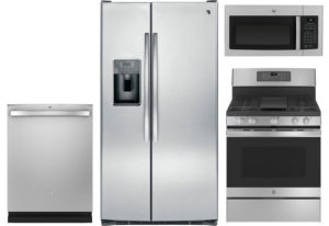GE Side-by-Side Stainless Refrigerator Appliance Package & Gas Range
