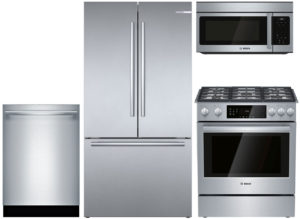 Bosch Refrigerator, Dishwasher, Microhood Package with Gas Range