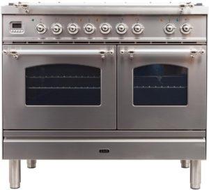 1. Ilve Nostalgie UPDN100FDMPIX Freestanding Dual Fuel Range Stainless Steel, UPDN100FDMPIX Dual Fuel Range