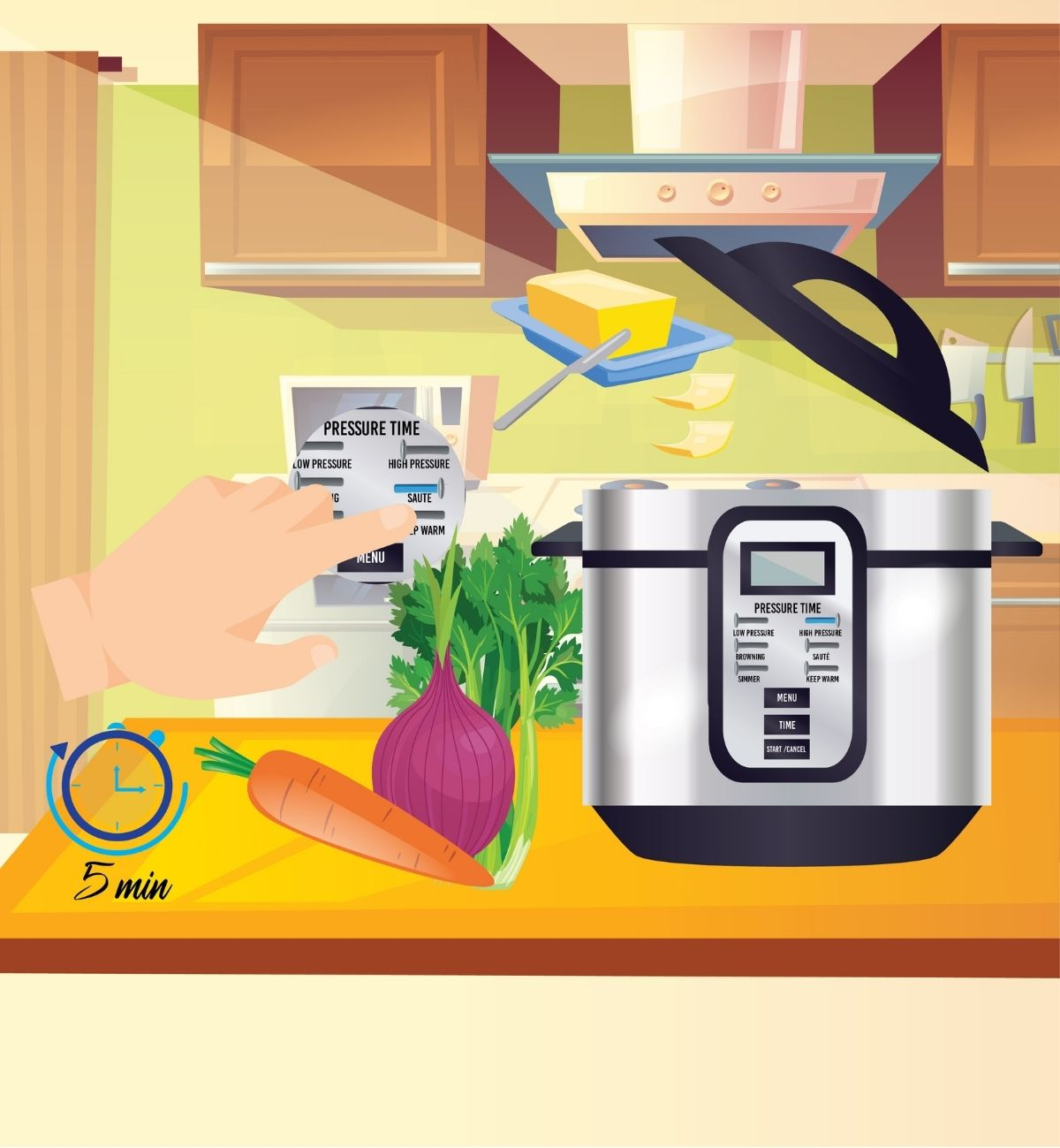 Select Saute and add butter to the pressure cooker pot