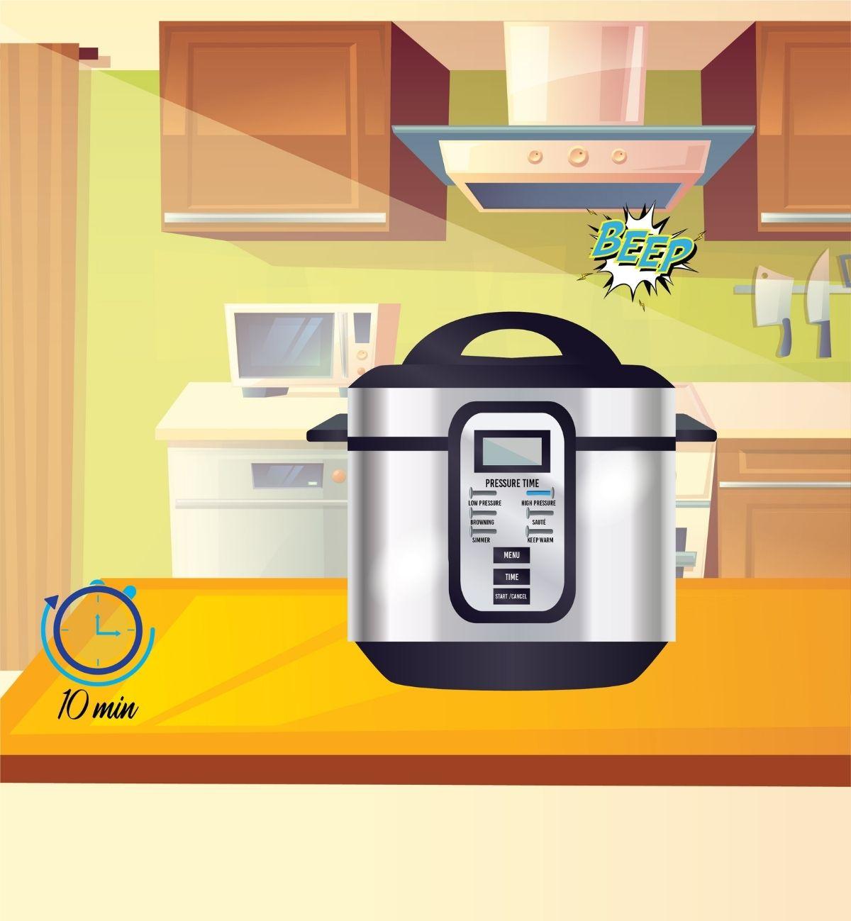 timer beeps, turn off the pressure cooker