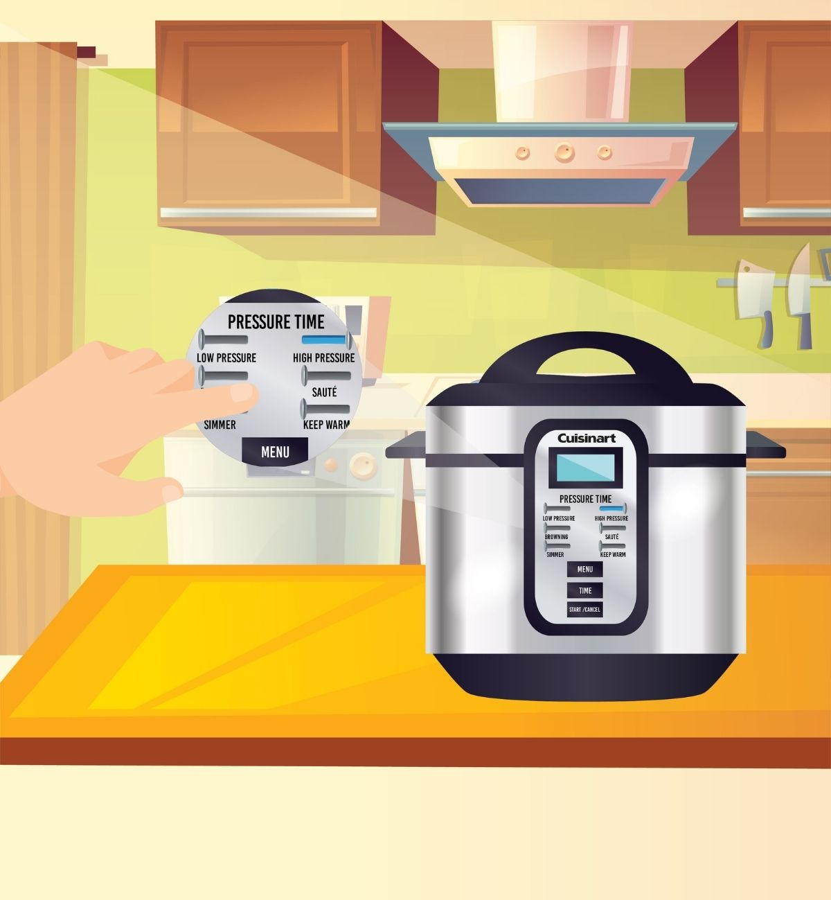 Select the appropriate pressure settingLow, High, Browning, Sauté, or Simmer.