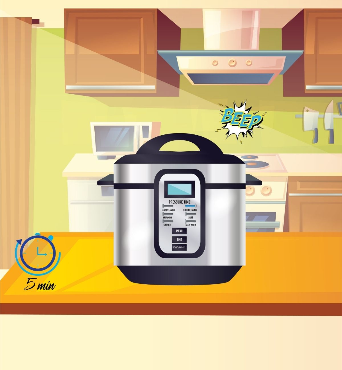 When beep sounds turn the pressure cooker off, wait 5 minutes