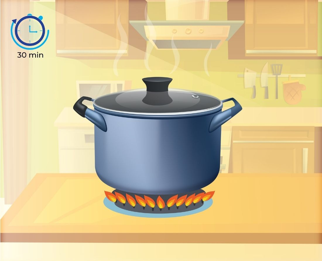 Set your cooking time on the pressure cooker to 30 minutes