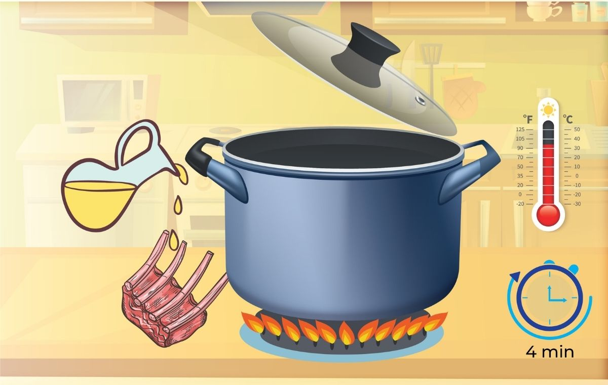 Set your pressure cooker to produce medium heat to heat up your oil until it shimmers