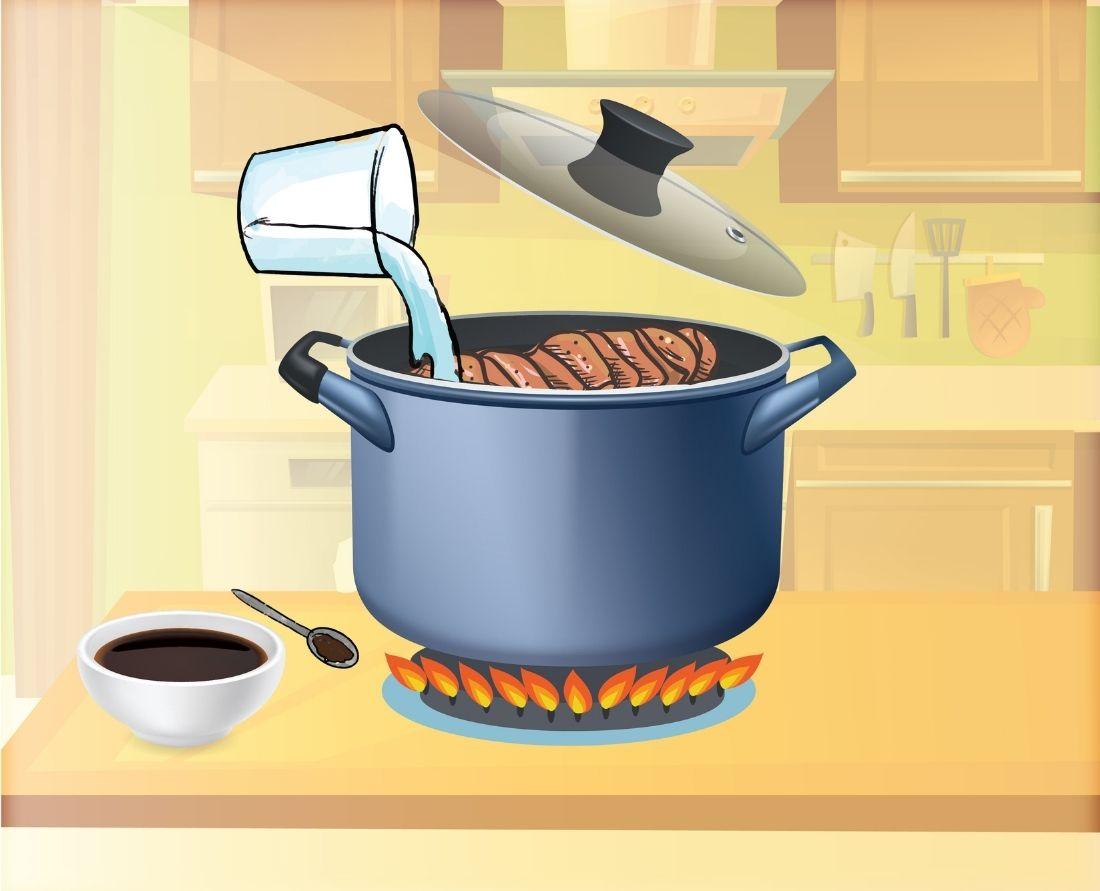 mix water add about ½ tablespoon of liquid smoke